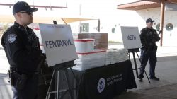 Packets of fentanyl mostly in powder form and methamphetamine, which U.S. Customs and Border Protection say they seized from a truck crossing into Arizona from Mexico, is on display during a news conference at the Port of Nogales, Arizona, U.S., January 31, 2019. Courtesy U.S. Customs and Border Protection/Handout via REUTERS