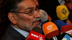 FILE PHOTO: Admiral Ali Shamkhani, Iran?s Supreme National Security Council Director, speaks to the media after his arrival at Damascus airport, September 30, 2014. REUTERS/Khaled al-Hariri/File Photo